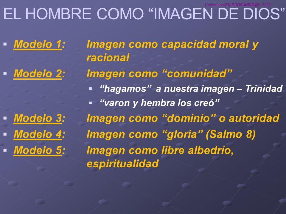 Ministerios EN PROFUNDIDAD 2008 EL HOMBRE COMO IMAGEN DE DIOS Modelo 1:Imagen como capacidad moral y racional Modelo 2: Imagen como comunidad hagamos