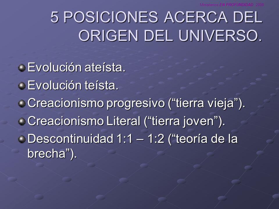Ministerios EN PROFUNDIDAD 2008 TEORIA 1: EVOLUCION ATEISTA Mantiene que el universo se creó espontáneamente, sin la intervención de un ser superior.
