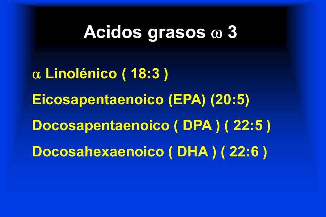 Acidos grasos 3 Linolénico ( 18:3 ) Eicosapentaenoico (EPA) (20:5) Docosapentaenoico ( DPA ) ( 22:5 ) Docosahexaenoico ( DHA ) ( 22:6 )