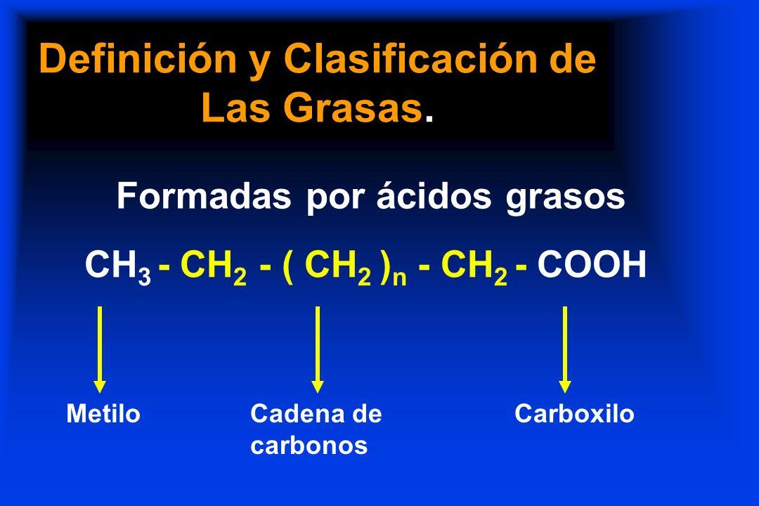 Definición y Clasificación de Las Grasas. Formadas por ácidos grasos - CH 2 - ( CH 2 ) n - CH 2 Cadena de carbonos - COOH Carboxilo CH 3 Metilo