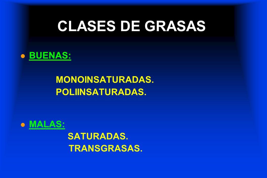CLASES DE GRASAS l BUENAS: MONOINSATURADAS. POLIINSATURADAS. l MALAS: SATURADAS. TRANSGRASAS.
