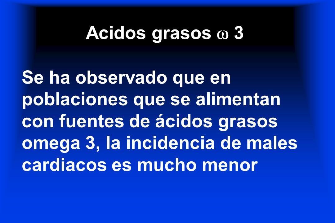 Acidos grasos 3 Se ha observado que en poblaciones que se alimentan con fuentes de ácidos grasos omega 3, la incidencia de males cardiacos es mucho me