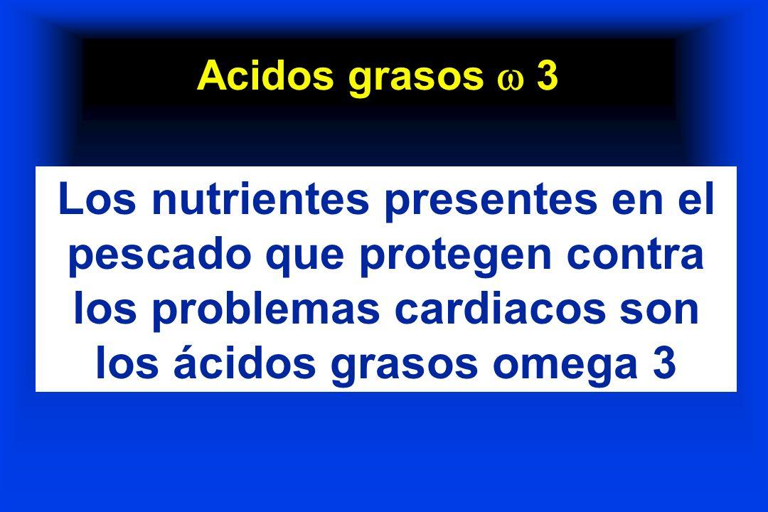 Acidos grasos 3 Los nutrientes presentes en el pescado que protegen contra los problemas cardiacos son los ácidos grasos omega 3