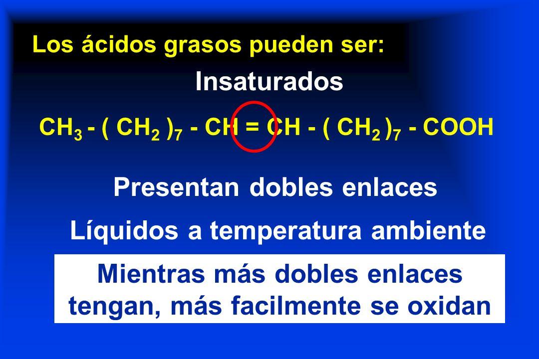 Los ácidos grasos pueden ser: Insaturados CH 3 - ( CH 2 ) 7 - CH = CH - ( CH 2 ) 7 - COOH Presentan dobles enlaces Líquidos a temperatura ambiente Mie