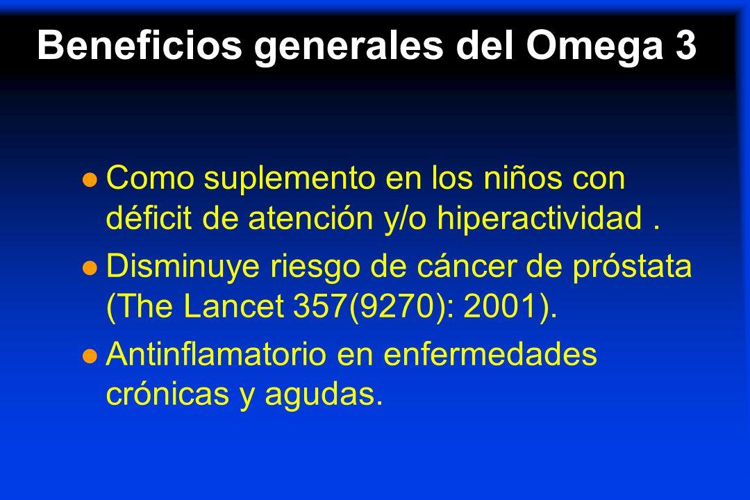 l Como suplemento en los niños con déficit de atención y/o hiperactividad. l Disminuye riesgo de cáncer de próstata (The Lancet 357(9270): 2001). l An