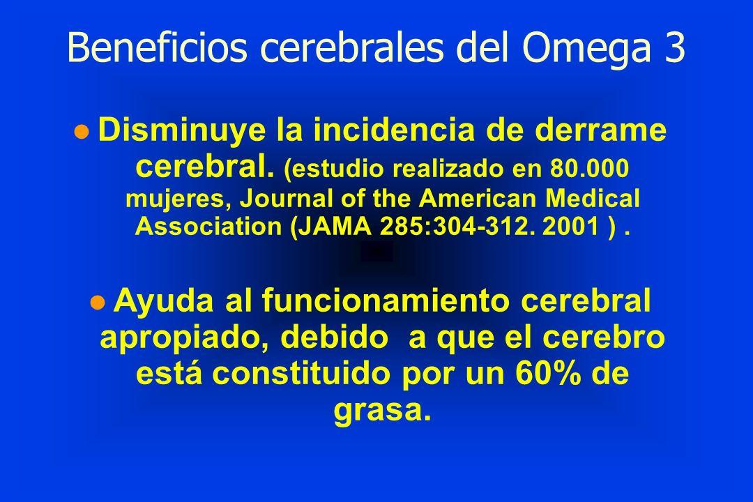Beneficios cerebrales del Omega 3 l Disminuye la incidencia de derrame cerebral. (estudio realizado en 80.000 mujeres, Journal of the American Medical