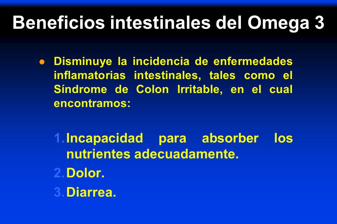 Beneficios intestinales del Omega 3 l Disminuye la incidencia de enfermedades inflamatorias intestinales, tales como el Síndrome de Colon Irritable, e