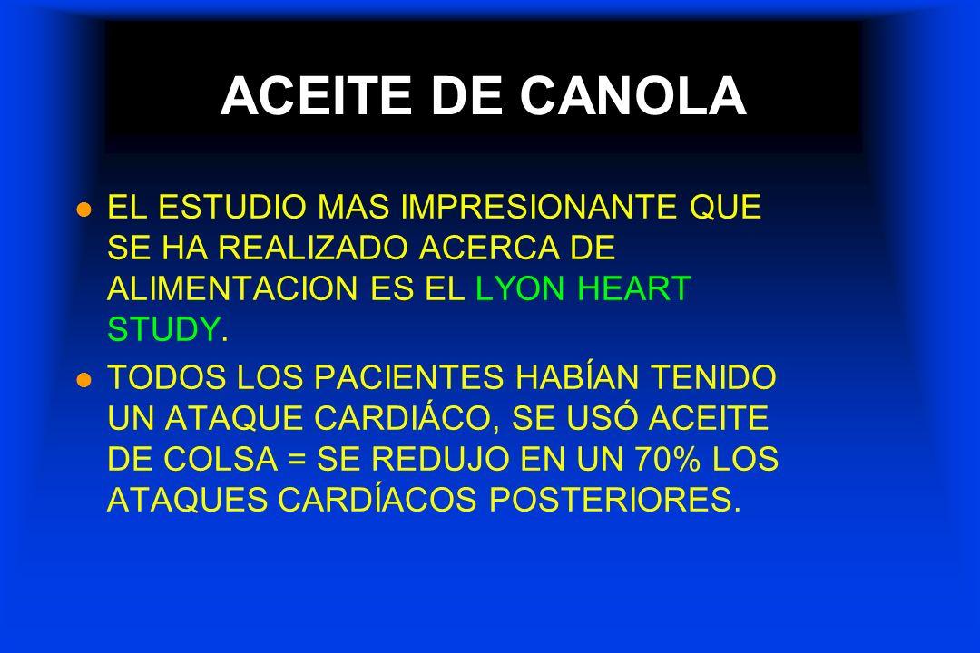 ACEITE DE CANOLA l EL ESTUDIO MAS IMPRESIONANTE QUE SE HA REALIZADO ACERCA DE ALIMENTACION ES EL LYON HEART STUDY. l TODOS LOS PACIENTES HABÍAN TENIDO