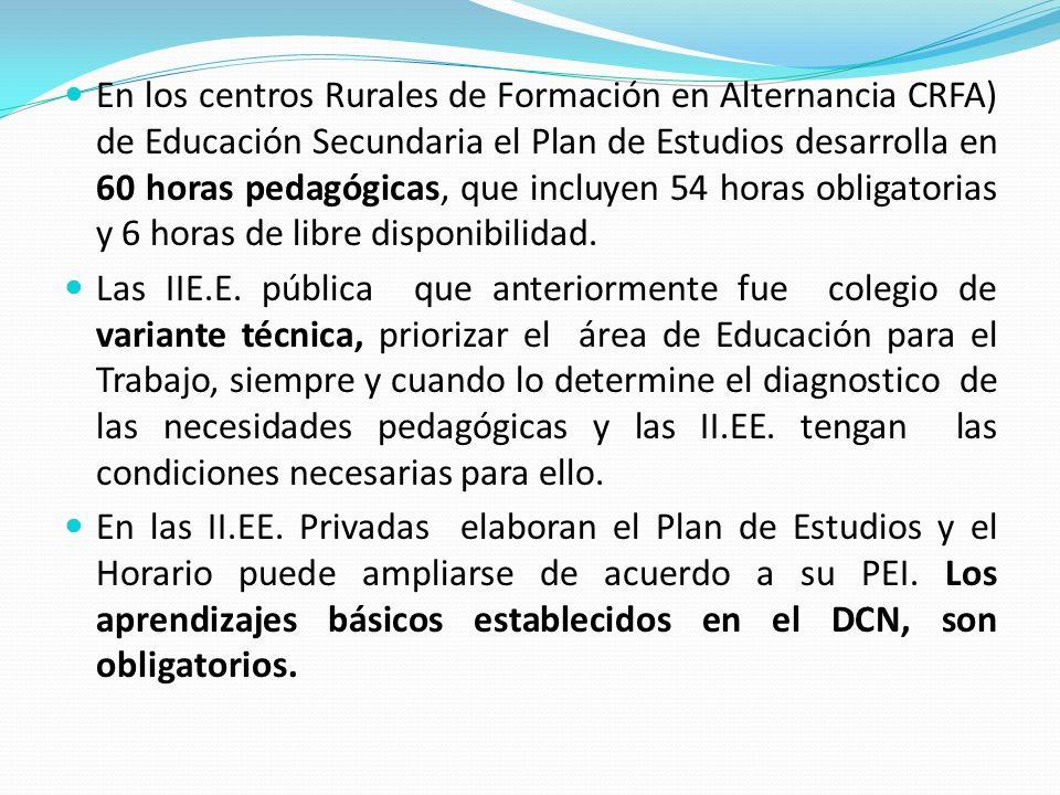 En los centros Rurales de Formación en Alternancia CRFA) de Educación Secundaria el Plan de Estudios desarrolla en 60 horas pedagógicas, que incluyen