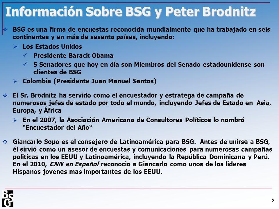 Información Sobre BSG y Peter Brodnitz BSG es una firma de encuestas reconocida mundialmente que ha trabajado en seis continentes y en más de sesenta