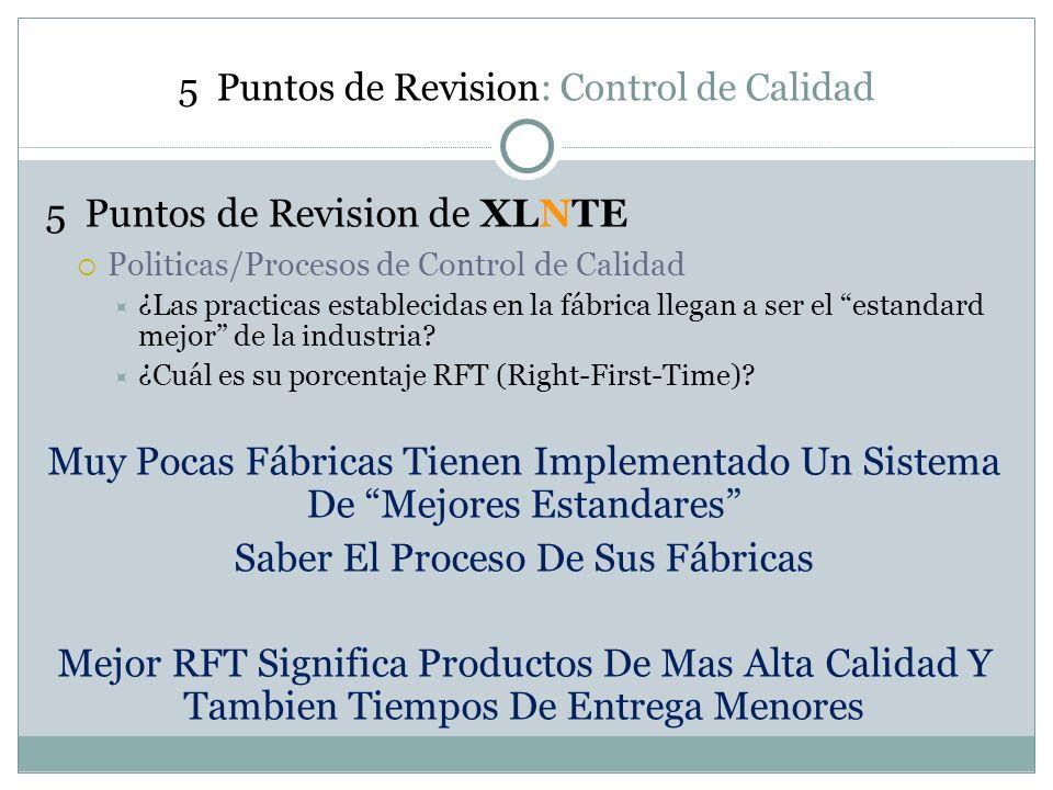 5 Puntos de Revision: Control de Calidad 5 Puntos de Revision de XLNTE Politicas/Procesos de Control de Calidad ¿Las practicas establecidas en la fábr