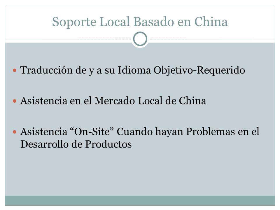Soporte Local Basado en China Traducción de y a su Idioma Objetivo-Requerido Asistencia en el Mercado Local de China Asistencia On-Site Cuando hayan P