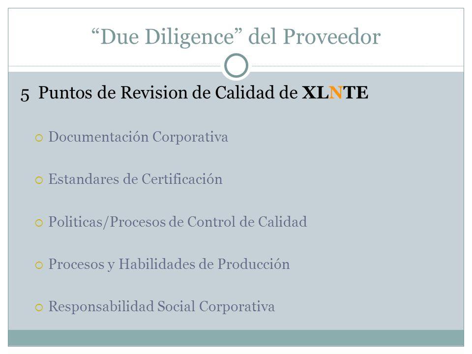 Due Diligence del Proveedor 5 Puntos de Revision de Calidad de XLNTE Documentación Corporativa Estandares de Certificación Politicas/Procesos de Contr