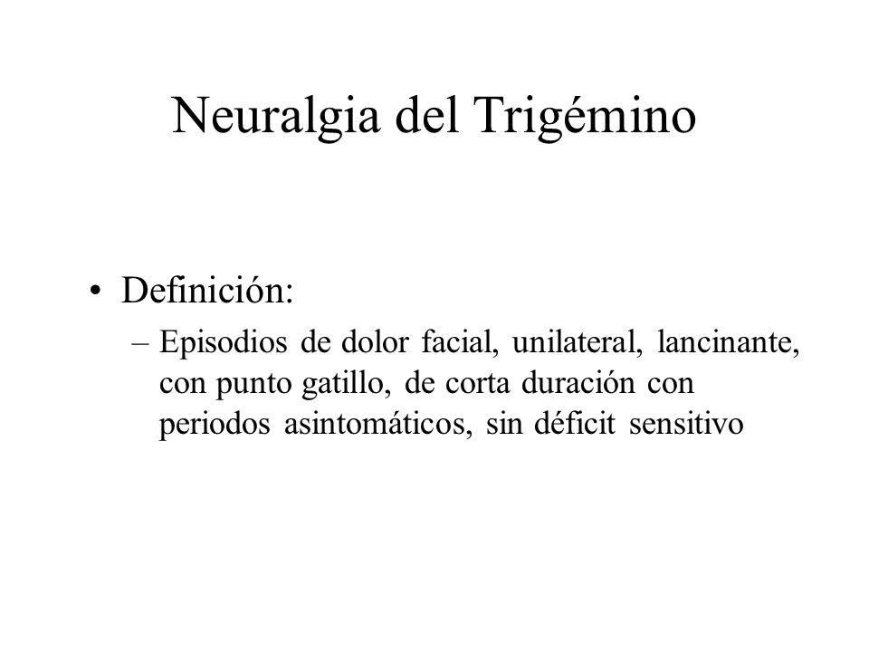 Neuralgia del Trigémino Definición: –Episodios de dolor facial, unilateral, lancinante, con punto gatillo, de corta duración con periodos asintomático