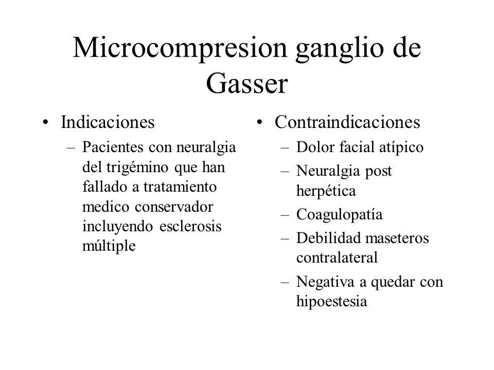 Microcompresion ganglio de Gasser Indicaciones –Pacientes con neuralgia del trigémino que han fallado a tratamiento medico conservador incluyendo escl