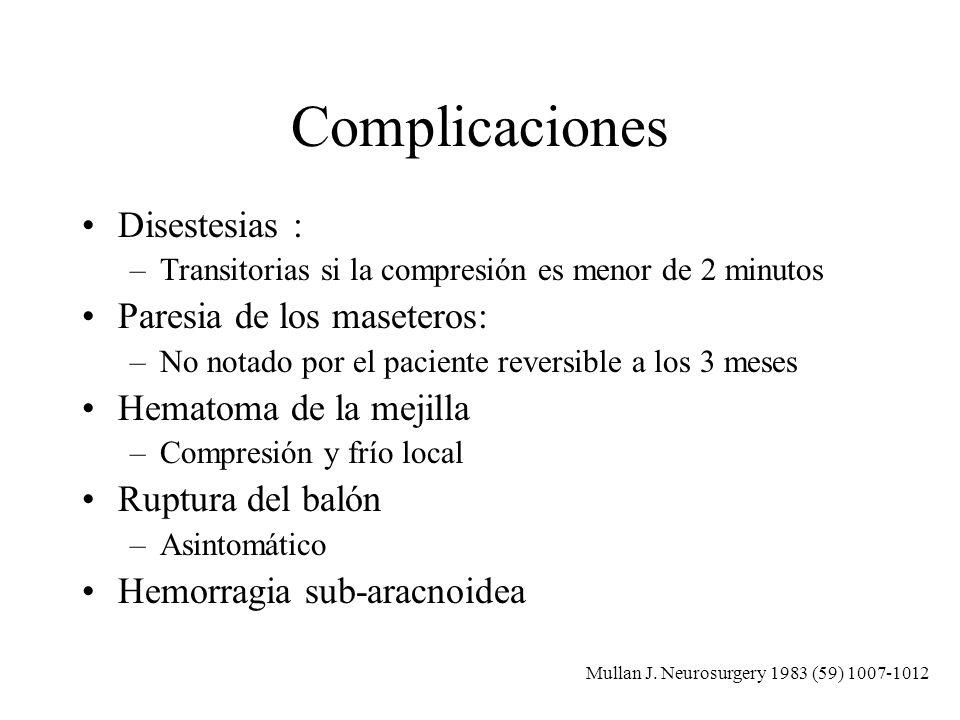 Complicaciones Disestesias : –Transitorias si la compresión es menor de 2 minutos Paresia de los maseteros: –No notado por el paciente reversible a lo