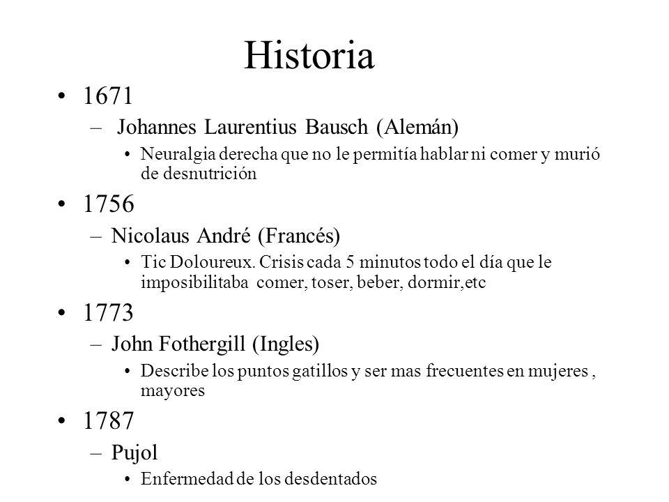 Historia 1671 – Johannes Laurentius Bausch (Alemán) Neuralgia derecha que no le permitía hablar ni comer y murió de desnutrición 1756 –Nicolaus André