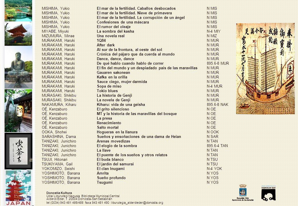 Donostia Kultura Udal Liburutegi Nagusia Biblioteca Municipal Central Alderdi Eder, 1 20004 Donostia-San Sebastián tel (0034) 943 481 486/488 faxa 943 481 490 liburutegia_alderdieder@donostia.org MISHIMA, Yukio El mar de la fertilidad.