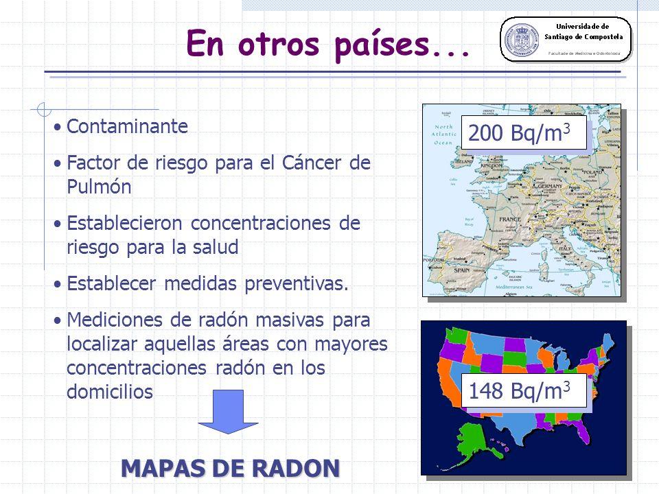 En otros países... Contaminante Factor de riesgo para el Cáncer de Pulmón Establecieron concentraciones de riesgo para la salud 148 Bq/m 3 200 Bq/m 3