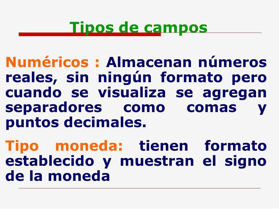 Tipos de campos Numéricos : Almacenan números reales, sin ningún formato pero cuando se visualiza se agregan separadores como comas y puntos decimales