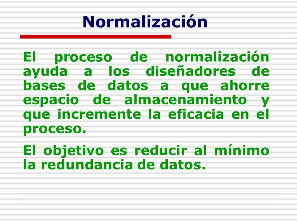 Normalización El proceso de normalización ayuda a los diseñadores de bases de datos a que ahorre espacio de almacenamiento y que incremente la eficaci
