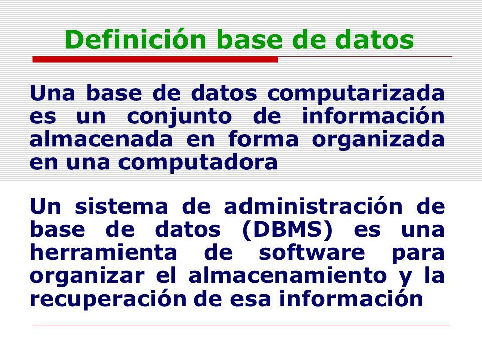 Definición base de datos Una base de datos computarizada es un conjunto de información almacenada en forma organizada en una computadora Un sistema de
