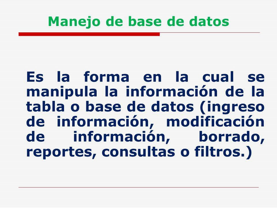 Manejo de base de datos Es la forma en la cual se manipula la información de la tabla o base de datos (ingreso de información, modificación de informa
