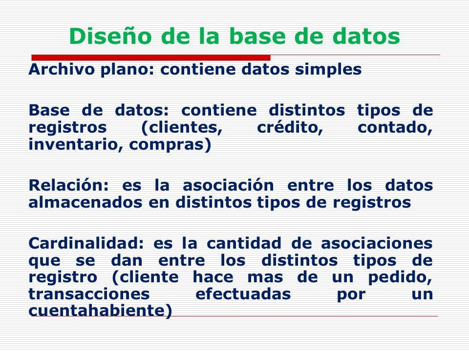Diseño de la base de datos Archivo plano: contiene datos simples Base de datos: contiene distintos tipos de registros (clientes, crédito, contado, inv