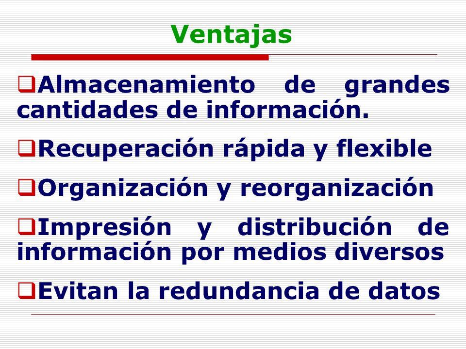 Ventajas Almacenamiento de grandes cantidades de información. Recuperación rápida y flexible Organización y reorganización Impresión y distribución de
