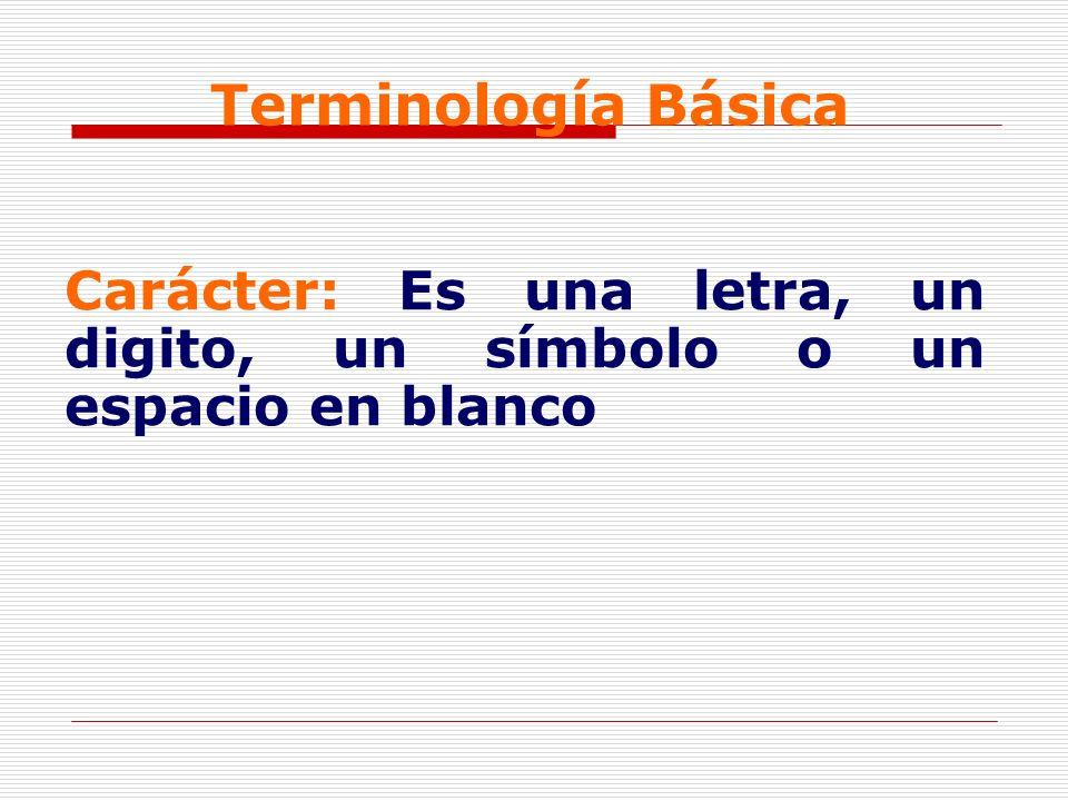 Terminología Básica Carácter: Es una letra, un digito, un símbolo o un espacio en blanco