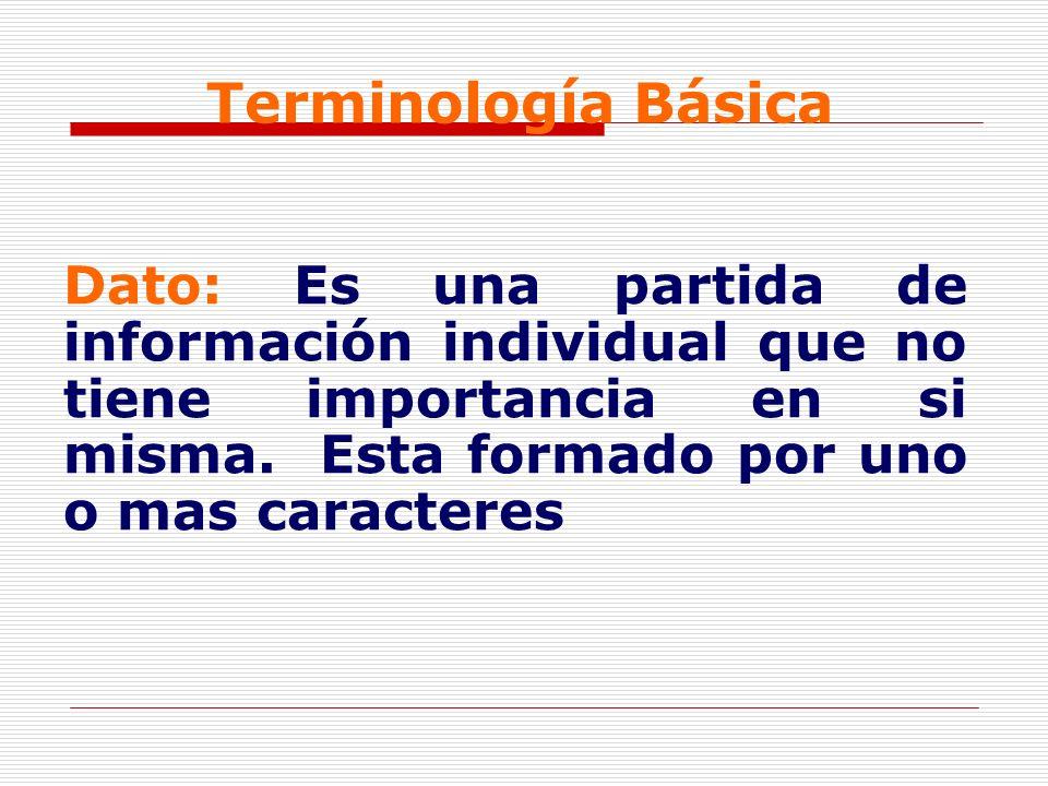 Terminología Básica Dato: Es una partida de información individual que no tiene importancia en si misma. Esta formado por uno o mas caracteres
