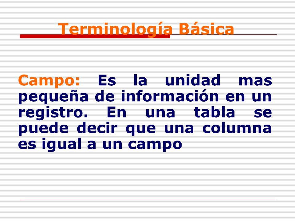 Terminología Básica Campo: Es la unidad mas pequeña de información en un registro. En una tabla se puede decir que una columna es igual a un campo