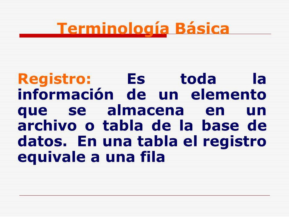 Terminología Básica Registro: Es toda la información de un elemento que se almacena en un archivo o tabla de la base de datos. En una tabla el registr
