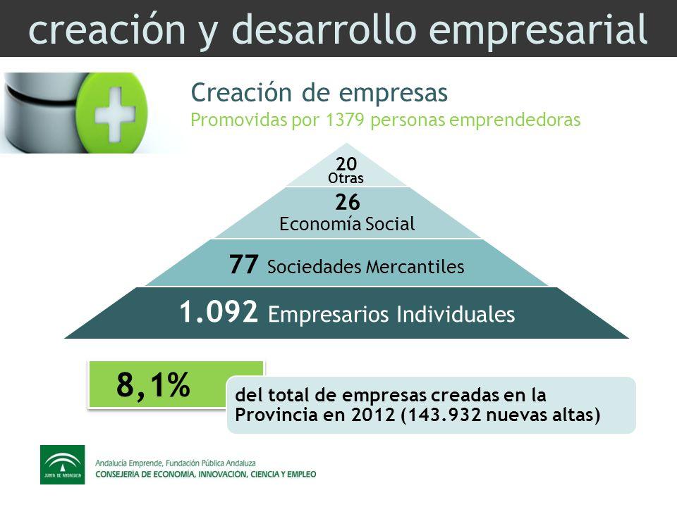 creación y desarrollo empresarial Creación de empresas Promovidas por 1379 personas emprendedoras 20 26 Economía Social 77 Sociedades Mercantiles 1.092 Empresarios Individuales Otras 8,1% del total de empresas creadas en la Provincia en 2012 (143.932 nuevas altas)