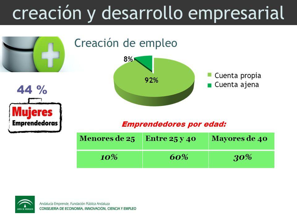 creación y desarrollo empresarial Creación de empleo 44 % 8% 92% Cuenta propia Cuenta ajena Menores de 25Entre 25 y 40Mayores de 40 10% 60% 30% Emprendedores por edad: