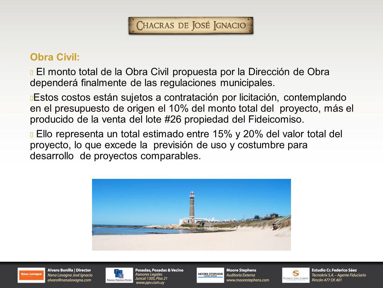 Obra Civil: El monto total de la Obra Civil propuesta por la Dirección de Obra dependerá finalmente de las regulaciones municipales.