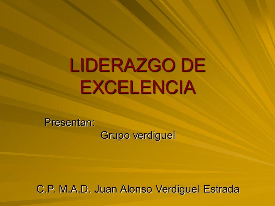 LIDERAZGO DE EXCELENCIA Presentan: Grupo verdiguel C.P. M.A.D. Juan Alonso Verdiguel Estrada