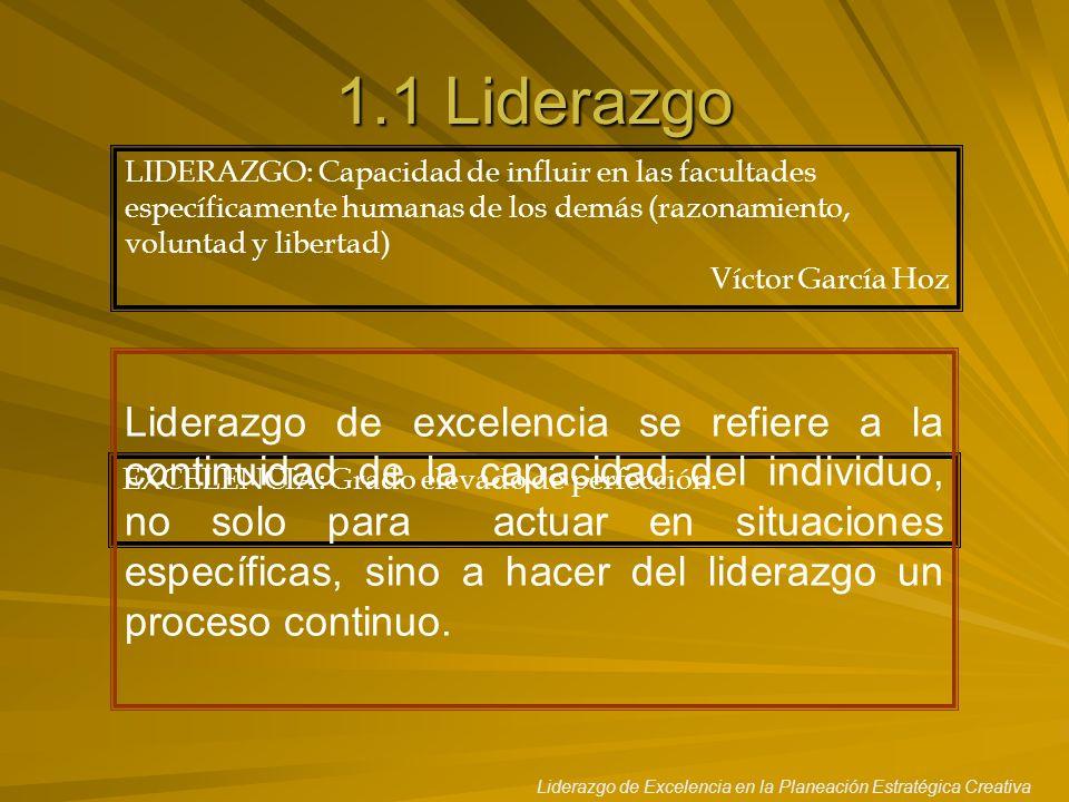 Liderazgo de Excelencia en la Planeación Estratégica Creativa 1.1 Liderazgo LIDERAZGO: Capacidad de influir en las facultades específicamente humanas