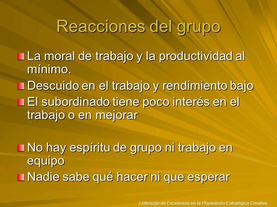 Liderazgo de Excelencia en la Planeación Estratégica Creativa Reacciones del grupo La moral de trabajo y la productividad al mínimo. Descuido en el tr