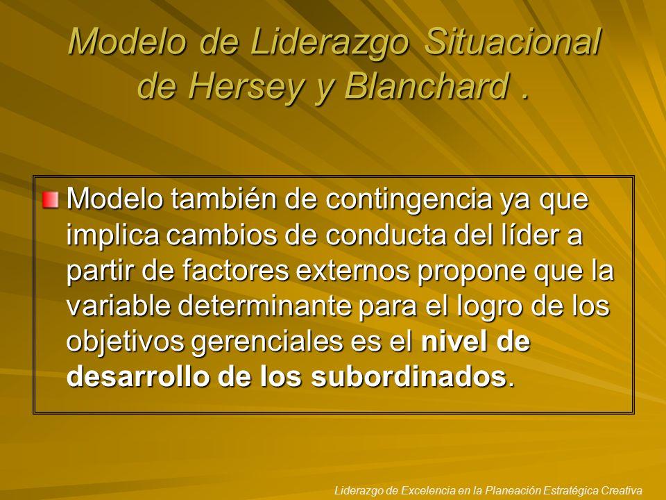 Liderazgo de Excelencia en la Planeación Estratégica Creativa Modelo de Liderazgo Situacional de Hersey y Blanchard. Modelo también de contingencia ya
