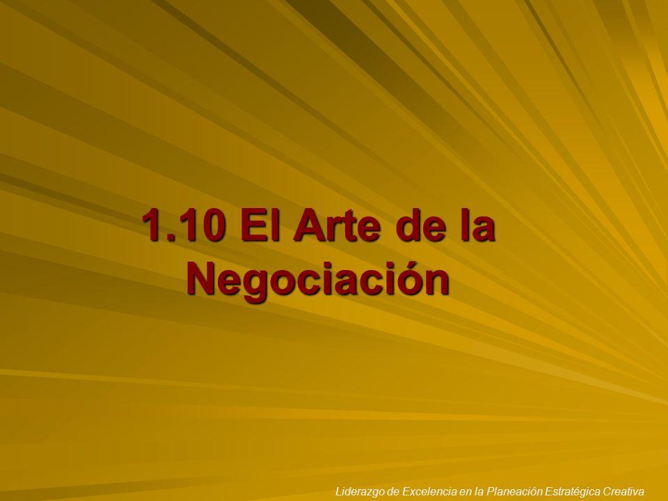 Liderazgo de Excelencia en la Planeación Estratégica Creativa 1.10 El Arte de la Negociación