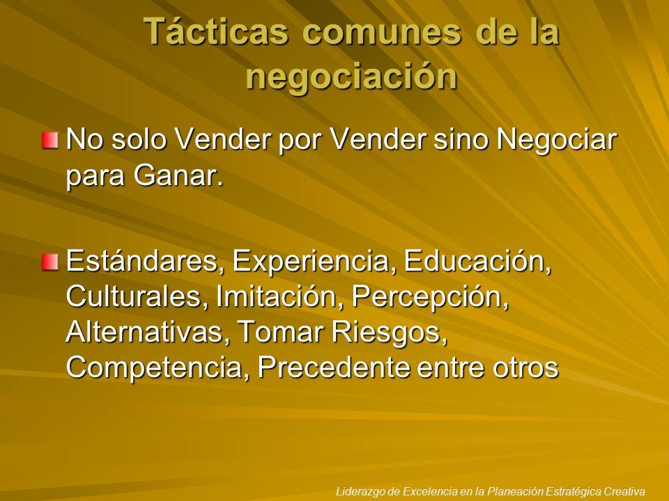 Liderazgo de Excelencia en la Planeación Estratégica Creativa Tácticas comunes de la negociación No solo Vender por Vender sino Negociar para Ganar. E
