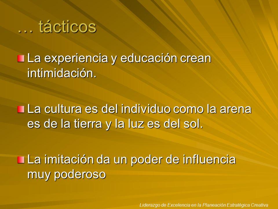 Liderazgo de Excelencia en la Planeación Estratégica Creativa … tácticos La experiencia y educación crean intimidación. La cultura es del individuo co