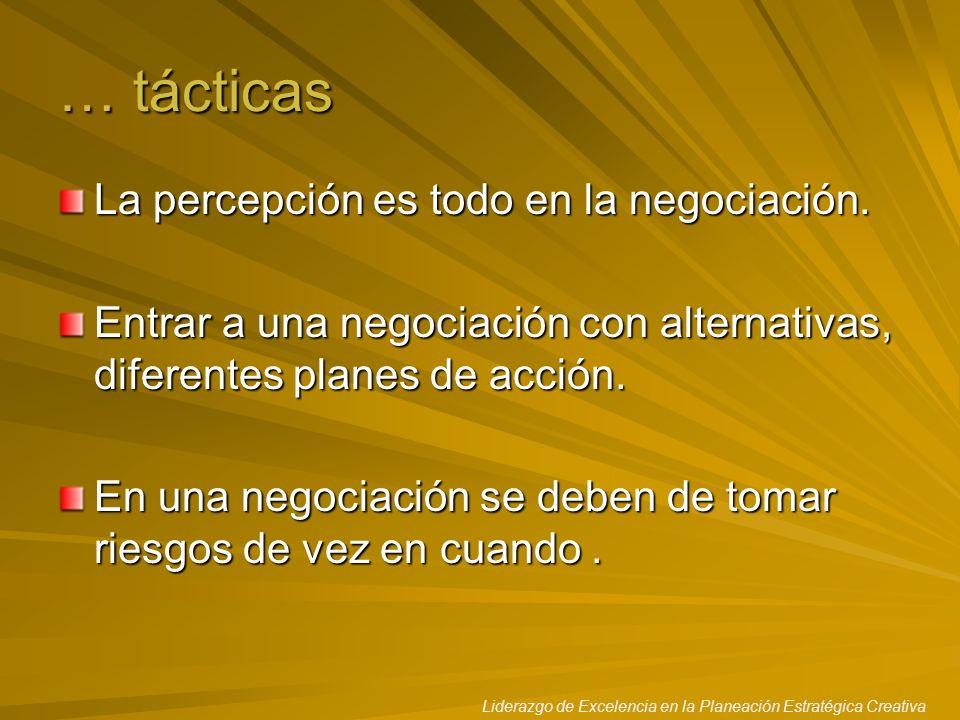 Liderazgo de Excelencia en la Planeación Estratégica Creativa … tácticas La percepción es todo en la negociación. Entrar a una negociación con alterna