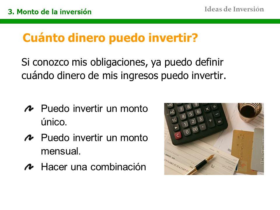 Ideas de Inversión Cuánto dinero puedo invertir? Si conozco mis obligaciones, ya puedo definir cuándo dinero de mis ingresos puedo invertir. Puedo inv