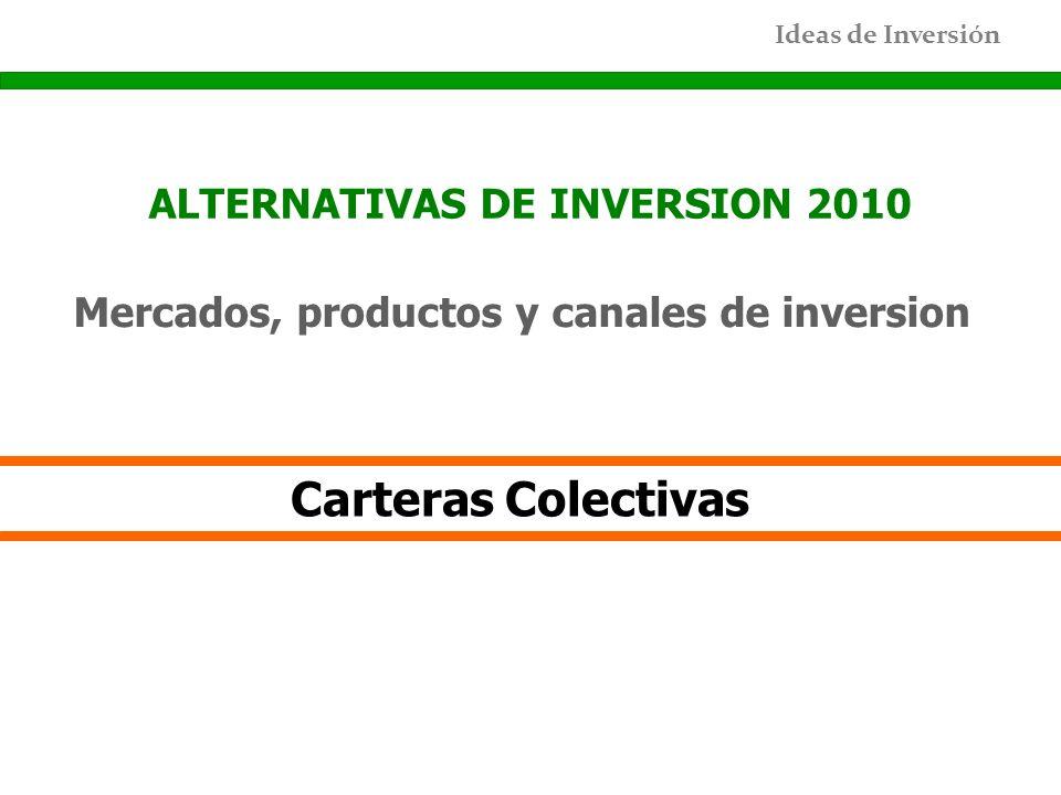 Ideas de Inversión ALTERNATIVAS DE INVERSION 2010 Mercados, productos y canales de inversion Carteras Colectivas