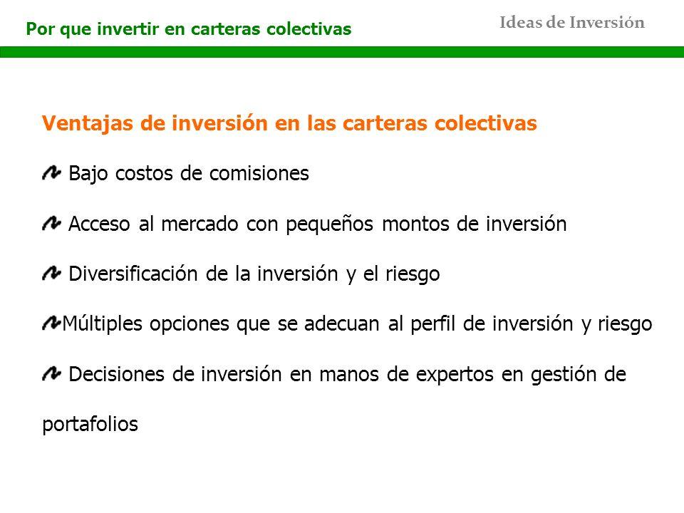 Ideas de Inversión Por que invertir en carteras colectivas Ventajas de inversión en las carteras colectivas Bajo costos de comisiones Acceso al mercad