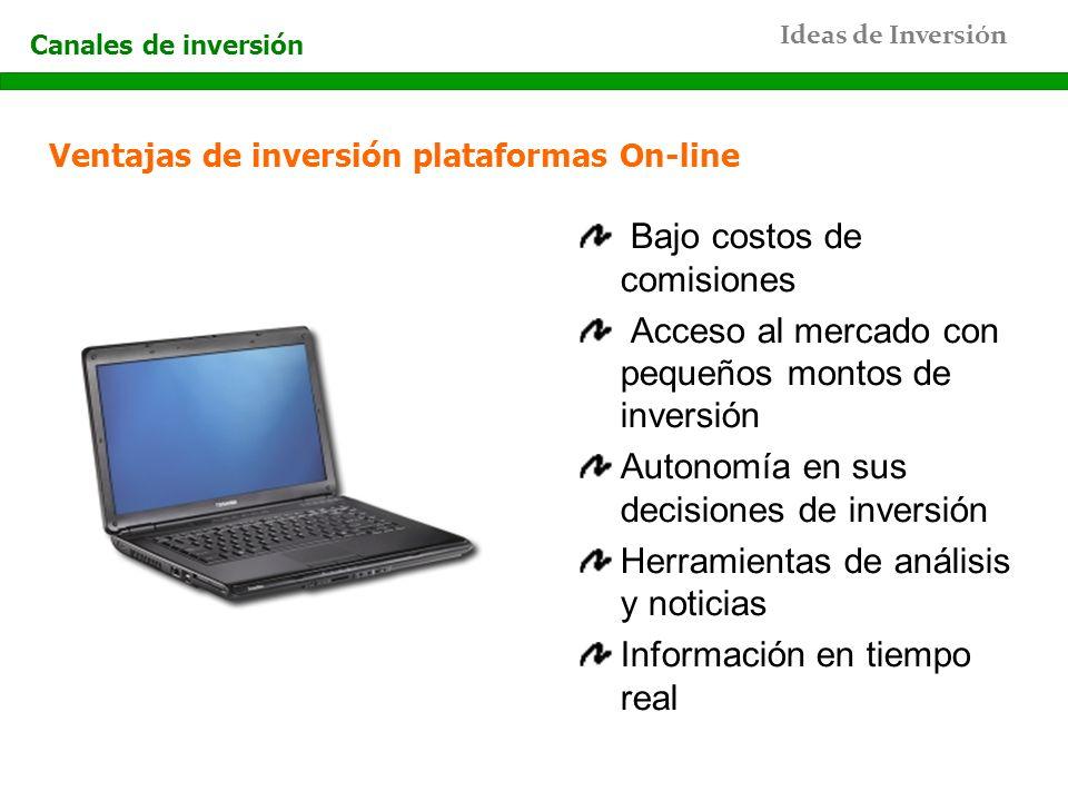 Ideas de Inversión Canales de inversión Ventajas de inversión plataformas On-line Bajo costos de comisiones Acceso al mercado con pequeños montos de i
