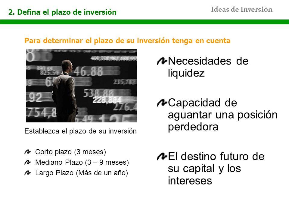 Ideas de Inversión 2. Defina el plazo de inversión Para determinar el plazo de su inversión tenga en cuenta Establezca el plazo de su inversión Corto