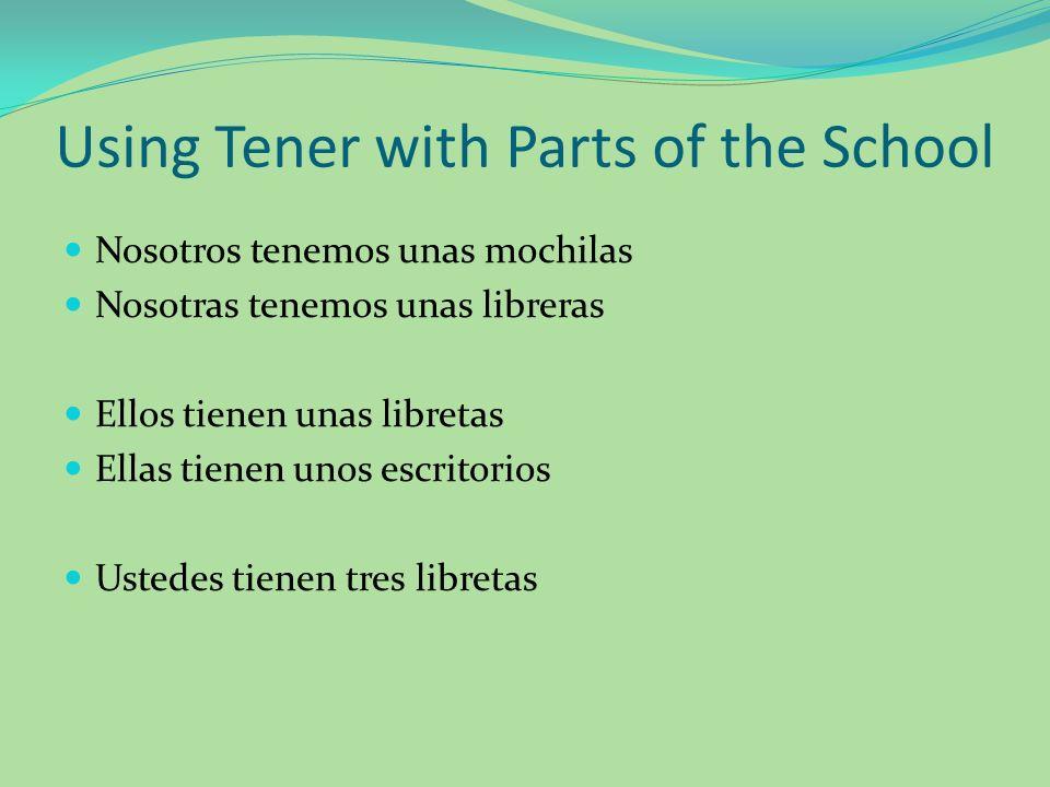 Using Tener with Parts of the School Nosotros tenemos unas mochilas Nosotras tenemos unas libreras Ellos tienen unas libretas Ellas tienen unos escrit
